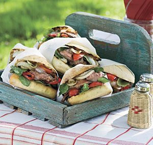 Flank Steak Sandwiches with Bleu Cheese