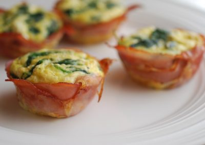 GOAT CHEESE, SPINACH HAM CUPS (Adapted from Always Order Dessert)