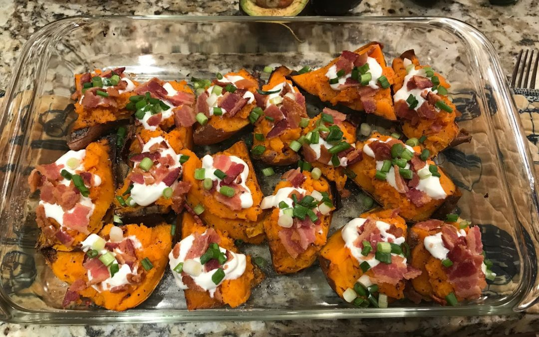 LOADED SWEET POTATO SKINS (Adapted from Martha Stewart)