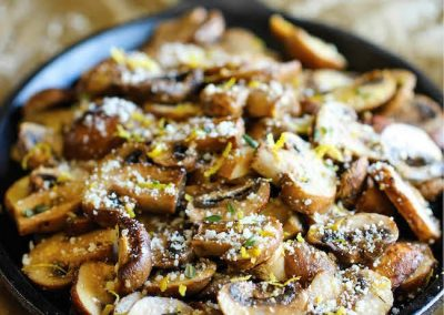 BAKED PARMESAN MUSHROOMS (Adapted from Damndelicious)