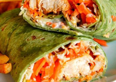 BUFFALO CHICKEN WRAPS (Adapted from weary chef)