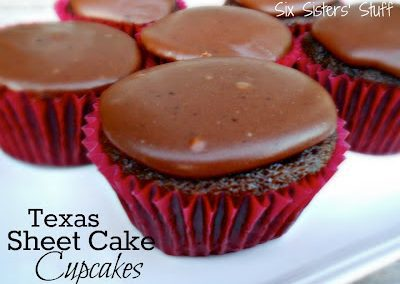TEXAS SHEET CAKE CUPCAKES (Adapted from Six Sisters Stuff)
