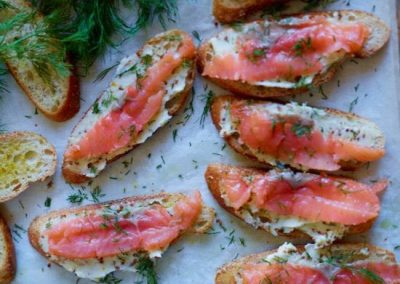SMOKED SALMON TOASTS WITH MUSTARD BUTTER (Adapted from Food and Wine)