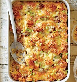 CHEESY SAUSAGE AND CROISSANT CASSEROLE