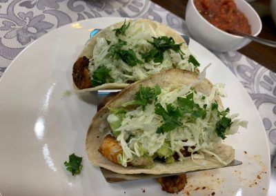 SPICY SHRIMP TACOS with GARLIC CILANTRO LIME SLAW  (Adapted from Pinch of Yum)