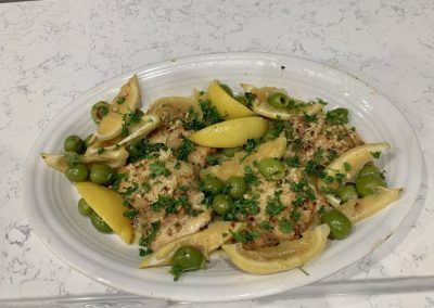 BRAISED CHICKEN WITH LEMON AND OLIVES  (Adapted from MAUREEN ABOOD)