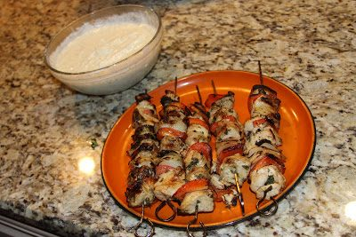 Grilled Greek Chicken Skewers with tsatziki