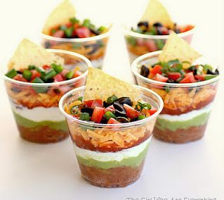INDIVIDUAL MEXICAN 7-LAYER DIP with chips