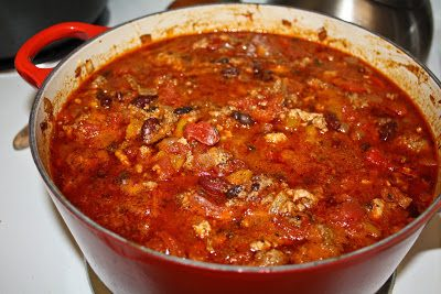 BOWL GAME CHILI (OR BEEF AND PORK CHILI) (Adapted from At Home with the Neely's)