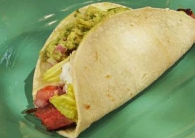 Flank Steak Tacos with Guacamole (Adapted from Food Network)