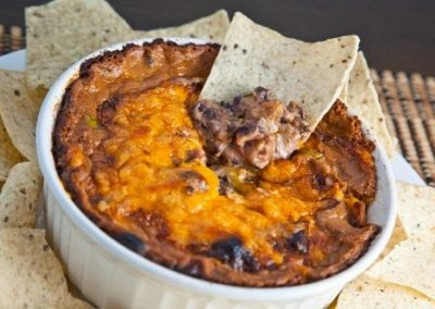 CHEESY REFRIED BEAN DIP (Adapted from Closet Cooking)