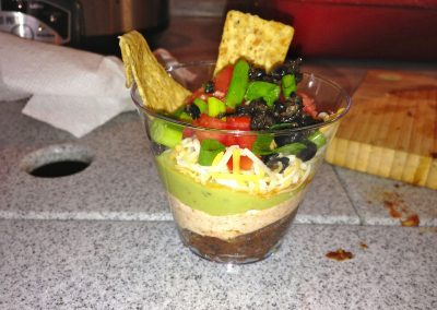 INDIVIDUAL MEXICAN 7-LAYER DIP with chips (Adapted from The Girl Who Ate Everything)