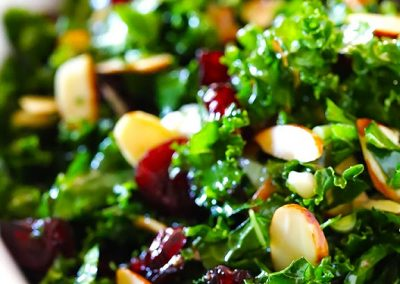 KALE SALAD WITH WARM CRANBERRY ALMOND VINAIGRETTE (Adapted from gimme some oven)