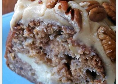 APPLE-CREAM CHEESE BUNDT CAKE WITH CARAMEL PECAN FROSTING (Adapted from jamhands.net)
