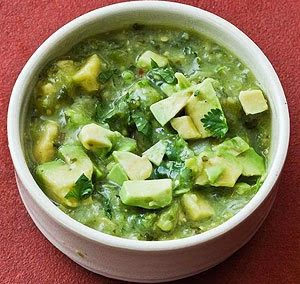 TOMATILLO SALSA VERDE (with avocado) (Adapted from Rick Bayless)