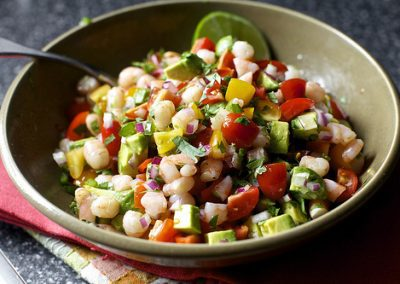 AVOCADO AND SHRIMP SALSA with chips (Adapted from smitten kitchen)