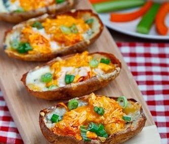 BUFFALO CHICKEN POTATO SKINS (Adapted from Closet Cooking)