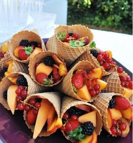 FRESH FRUIT IN WAFFLE CONES