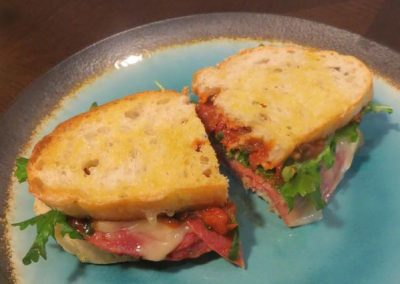 SOPPRESSATA SANDWICHES WITH TOMATO JAM AND CAMEMBERT (Adapted from Food and Wine)