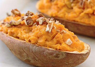 TWICE BAKED SWEET POTATOES WITH GRUYERE AND ROSEMARY