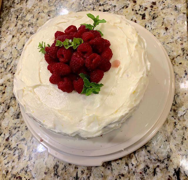 Lemon Raspberry Cake  (Adapted from Food Network)